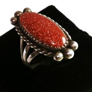 Vintage Sterling & Gold Stone Oval Face Ring